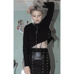 Disturbia Grommet Crop Sweater Eyelet Side Lace Up
